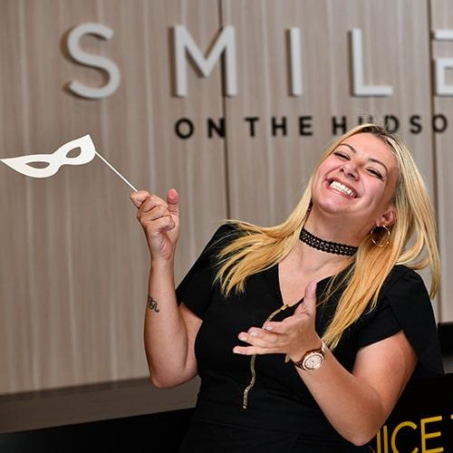 Megan having fun at Smiles on the Hudson dental practice in Edgewater, New Jersey