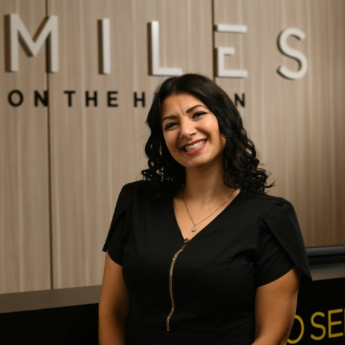 Megan having fun at Smiles on the Hudson dental practice in Edgewater, New Jersey